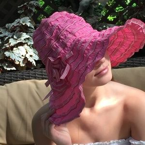 Striped and Pleated Pink Colored Fabric Sun Hat